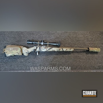 Bolt Action Rifle Cerakoted Using Midnight Bronze