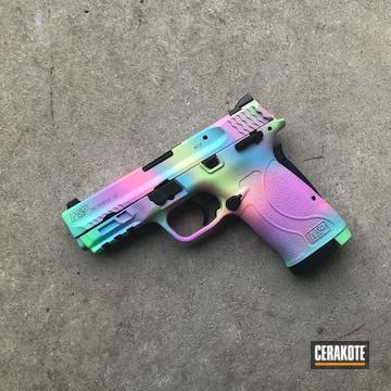 Unicorn Camo Smith & Wesson M&p Shield Cerakoted Using Pink Sherbet, Blue Raspberry And Parakeet Green
