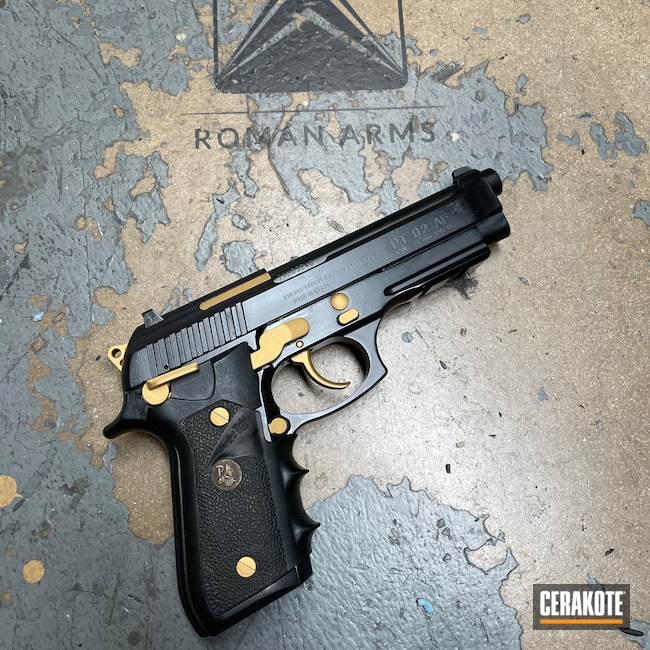 Cerakoted: S.H.O.T,Clone,Frame,BLACKOUT E-100,Restoration,Pistol,Pistol Slide,Slide,Gold H-122,Pistol Frame,Taurus PT92,Handgun,9mm,Beretta,Taurus,Handguns