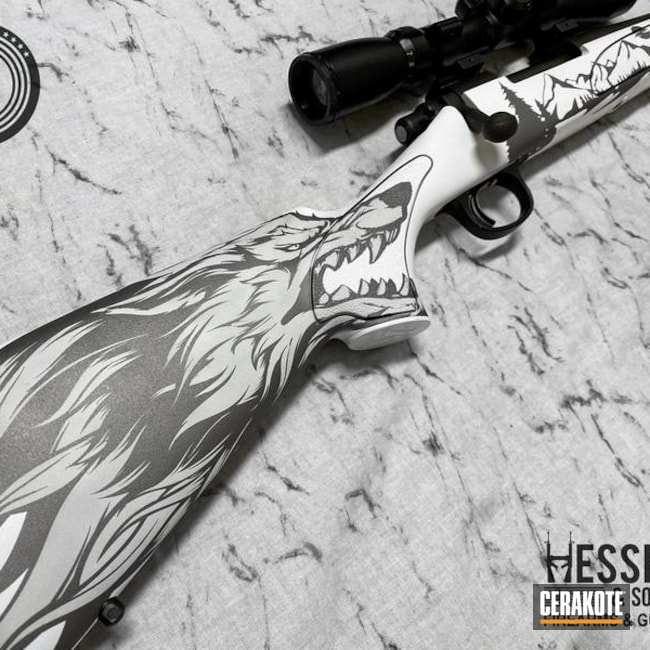Wolf Themed Remington 700 Rifle Cerakoted Using Frost, Stormtrooper White And Platinum Grey