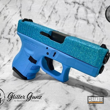 Glittered Glock Cerakoted Using Blue Raspberry
