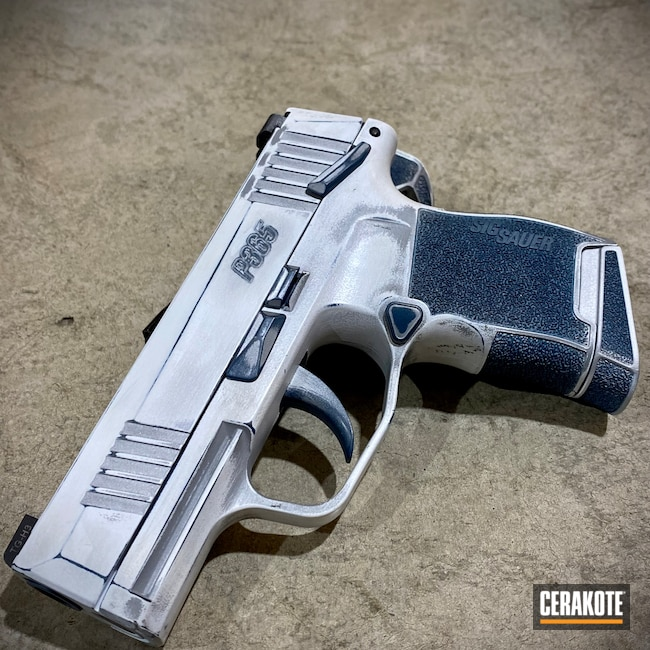 Cerakoted: S.H.O.T,Conceal Carry,p365,Micro,Pistol,Sig Sauer,Firearms,Daily Carry,Self Defense,R2D2,Sidekick,Stormtrooper White H-297,Crushed Silver H-255,Droid,Handguns,CCW,Blue Titanium H-185,Star Wars