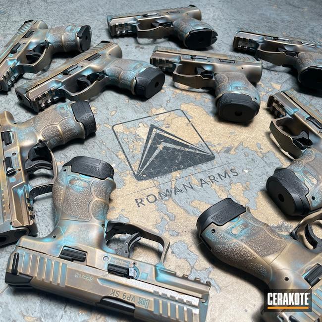 Cerakoted: S.H.O.T,Robin's Egg Blue H-175,HKVP9,Copper Patina,Pistol,Armor Black H-190,EDC,Gold H-122,Handgun,9mm,VP9,HK VP9SK,AZTEC TEAL H-349,VORTEX® BRONZE H-293,HK Pistol,Burnt Bronze H-148,Bronze Patina,Heckler & Koch,Handguns,HK,Patina
