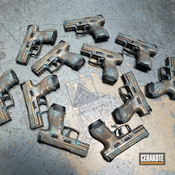 Copper Patina Heckler & Koch Pistol Cerakoted Using Vortex® Bronze, Armor Black And Aztec Teal