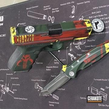 Boba Fett Themed Glock And Knife Cerakoted Using Crimson, Highland Green And Titanium