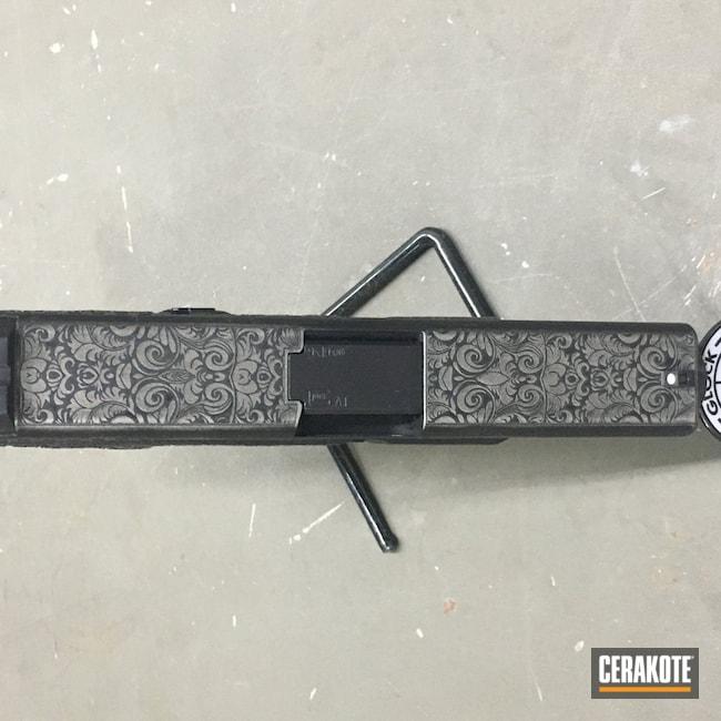Cerakoted: S.H.O.T,Scroll Pattern,Graphite Black H-146,Titanium H-170
