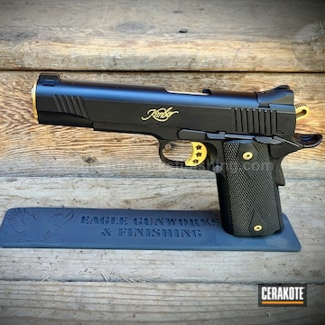Kimber 1911 Pistol Cerakoted Using Graphite Black And Gold