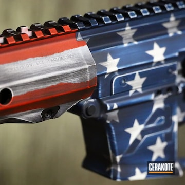 Distressed American Flag Themed Ar Cerakoted Using Kel-tec® Navy Blue, Graphite Black And Blood Orange