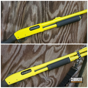 Remington 870 Cerakoted Using Lemon Zest And Electric Yellow