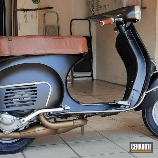 Cerakoted: S.H.O.T,Burnt Bronze C-148,Motorcycle Exhaust,CERAKOTE GLACIER BLACK C-7600,Vespa