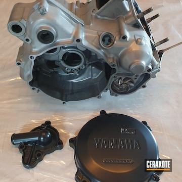 Yamaha Motorcycle Engine Cerakoted Using Cerakote Clear - Aluminum And Blackout