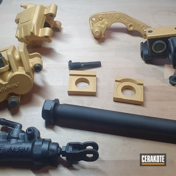 Motorcycle Parts Cerakoted Using Graphite Black And Gold