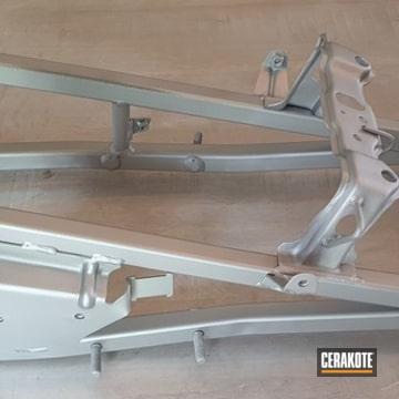 Motorcycle Frame Cerakoted Using Satin Aluminum