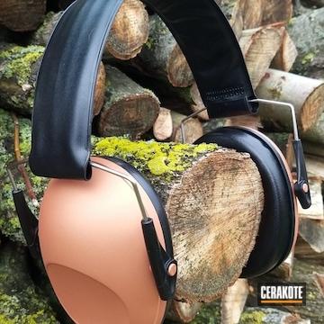 Protective Earmuffs Cerakoted Using Black Cherry, Crushed Orchid And Polar Blue