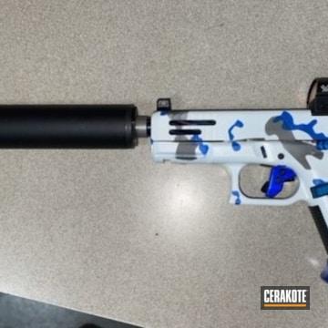 Glock 19 Pistol Cerakoted Using Stormtrooper White, Nra Blue And Tungsten