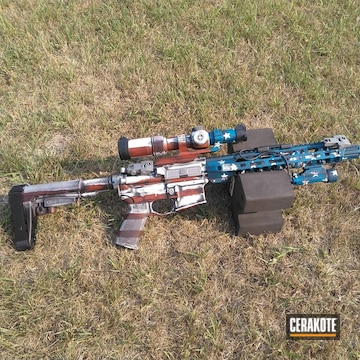 Distressed American Flag Themed Ar Cerakoted Using Crimson, Snow White And Sky Blue