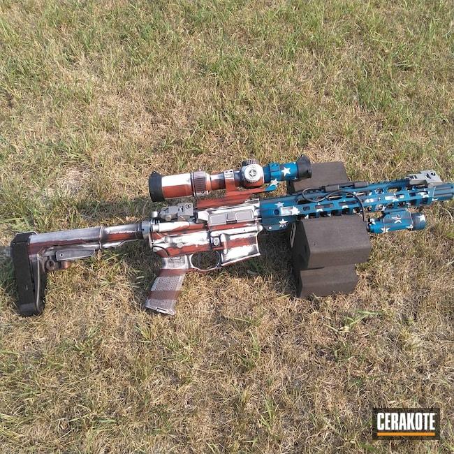 Cerakoted: S.H.O.T,Palmetto State Armory,Distressed,AR-15 Pistol,Crimson H-221,American Flag,AR Pistol,Snow White H-136,Graphite Black H-146,Distressed American Flag,Distressed Flag,Sky Blue H-169,AR-15