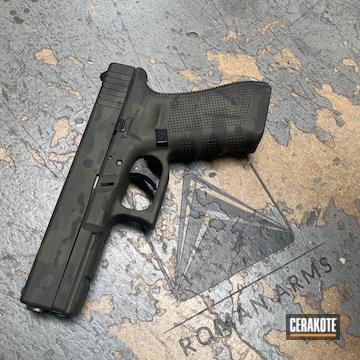 Urban Camo Glock 17 Cerakoted Using Sniper Green, Sig™ Dark Grey And Graphite Black