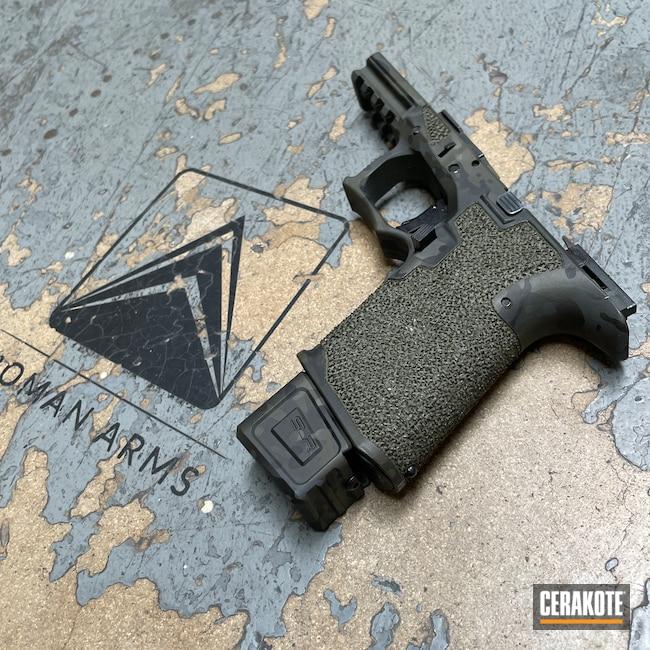 Cerakoted: Polymer80,S.H.O.T,SLR,Modern Camo Pattern,Stippled,Pistol,Hand Stippled,SIG™ DARK GREY H-210,MultiCam Black,Urban Camo,P80,Handgun,9mm,Custom,MultiCam,Sniper Green H-229,Graphite Black H-146,Magazine Extension,Camo,Handguns,Urban Multicam,Competition Ready
