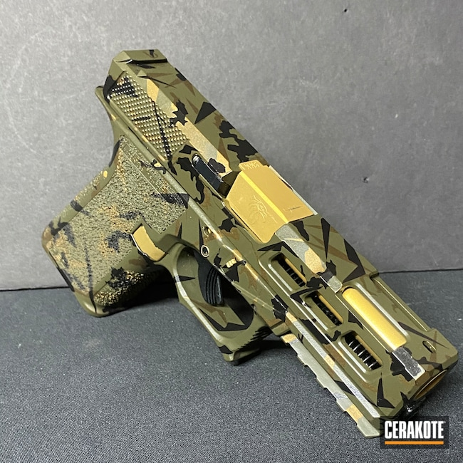 Cerakoted: S.H.O.T,Glock 19,Polymer80,Gloss Black H-109,Burnt Bronze H-148,O.D. Green H-236,Gen 3,Gold H-122