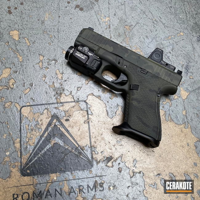 Cerakoted: Laser Stippled,S.H.O.T,Pistol,SIG™ DARK GREY H-210,MultiCam Black,Urban Camo,Handgun,Glock 19,RMR,Custom,MultiCam,Sniper Green H-229,Graphite Black H-146,Glock,Handguns,Gen5,Urban Multicam