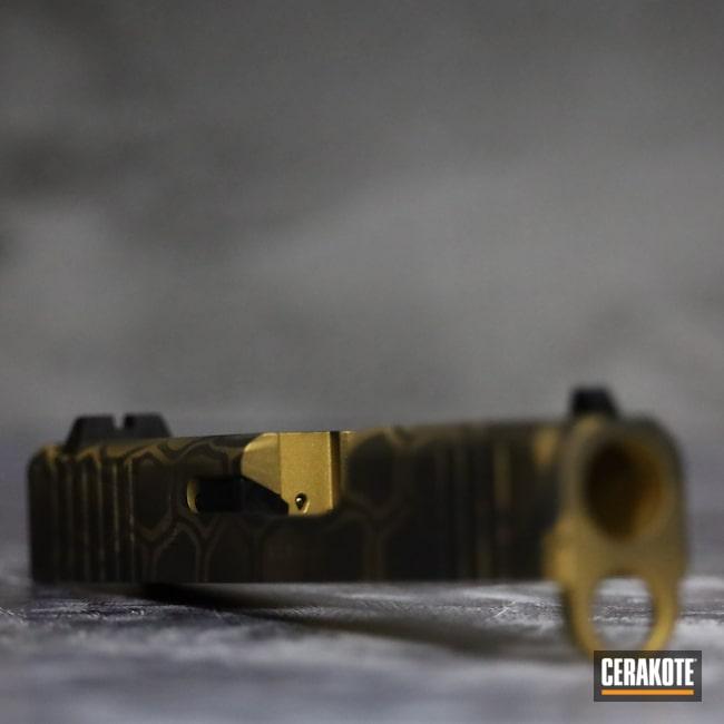 Cerakoted: S.H.O.T,9mm,Graphite Black H-146,Pistol,Glock,Pistol Slide,43x,Gold H-122,Handgun