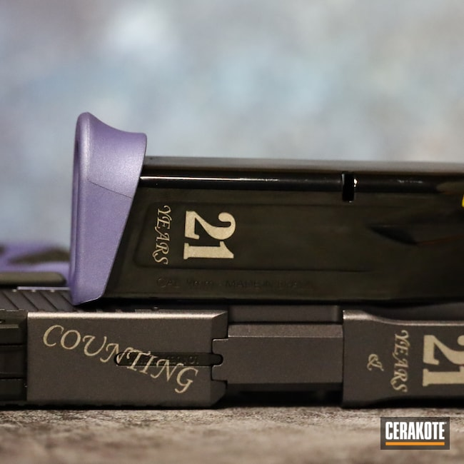 Cerakoted: S.H.O.T,9mm,Graphite Black H-146,Pistol,CRUSHED ORCHID H-314,Taurus,CARBON GREY E-240,Laser Engrave,Handgun,G2C
