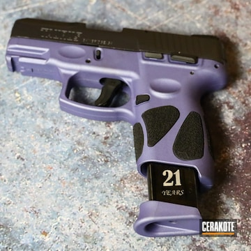 Taurus G2c Pistol Cerakoted Using Crushed Orchid, Graphite Black And Carbon Grey