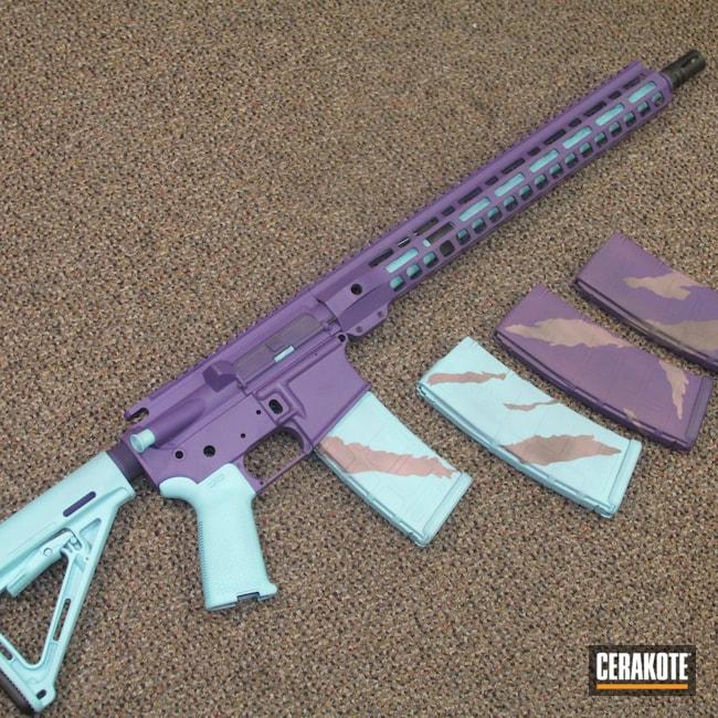 Cerakoted: S.H.O.T,Robin's Egg Blue H-175,PINK CHAMPAGNE H-311,Bright Purple H-217,5.56,AR-15