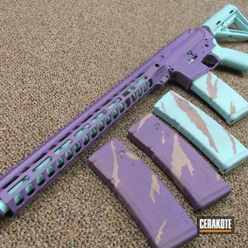 Ar Cerakoted Using Robin's Egg Blue, Pink Champagne And Bright Purple