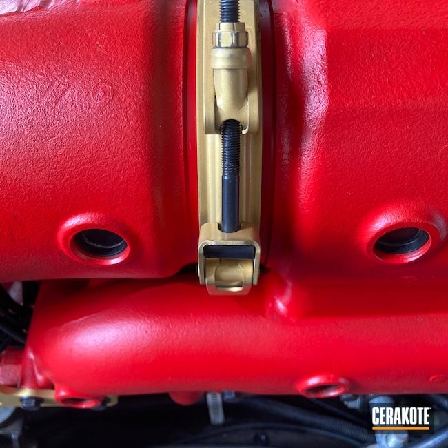 Cerakoted: BLACKOUT E-100,Gold V-172,Automotive,Marine,STOPLIGHT RED C-143