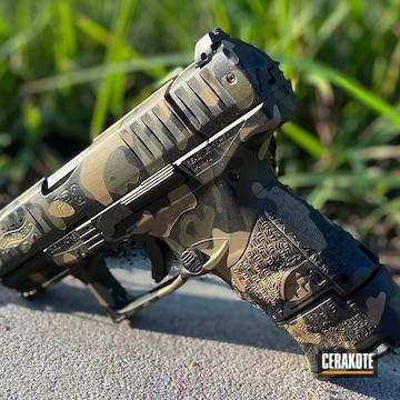 Custom Camo Walther Ppq Pistol Cerakoted Using Desert Sand, Graphite Black And Mil Spec Green