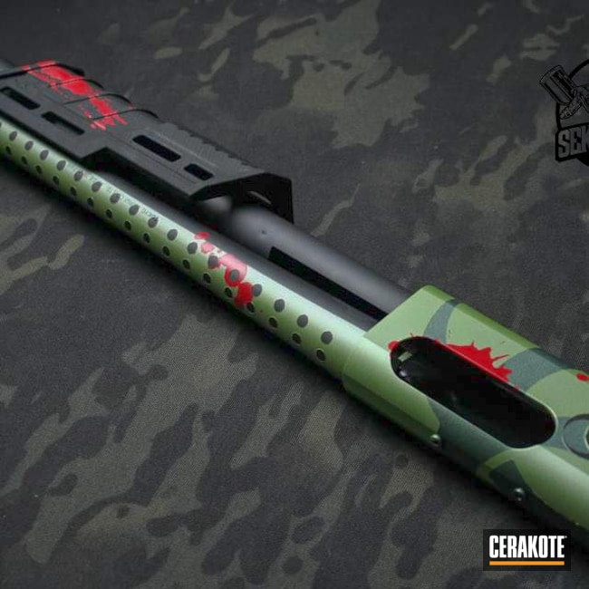 Cerakoted: S.H.O.T,Zombie,12g,Graphite Black H-146,RUBY RED H-306,870,Remington 870,Noveske Bazooka Green H-189