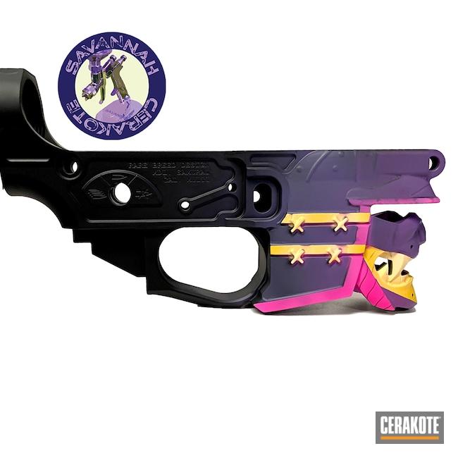 Cerakoted: S.H.O.T,AR Lower Receiver,Custom Color,Graphite Black H-146,AR,Lower Receiver,Bright Purple H-217,Wild Purple H-197,Prison Pink H-141,SUNFLOWER H-317,Three Color Fade,Light Sand H-142
