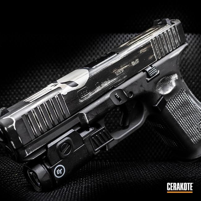Cerakoted: S.H.O.T,9mm,Punisher,Battleworn,Stormtrooper White H-297,23,Armor Black H-190,Glock,Handgun