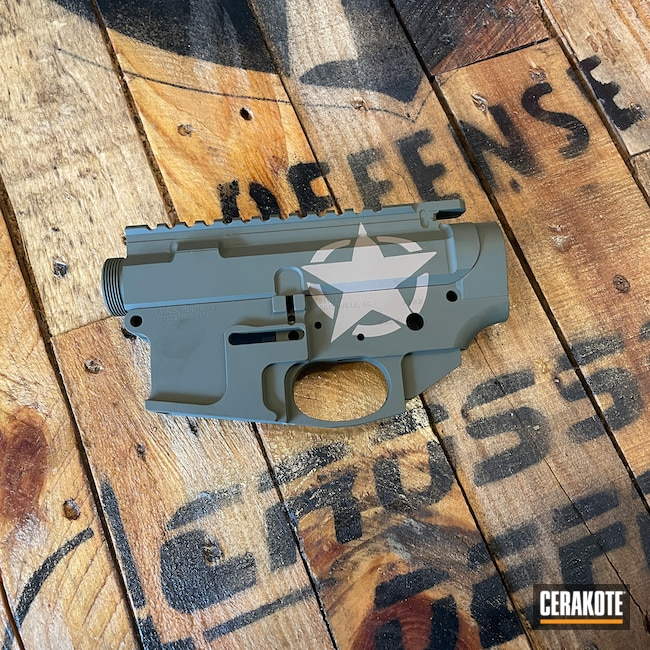 Cerakoted: S.H.O.T,Coyote Tan H-235,Upper Receiver,Sniper Green H-229,AR,AR Build,Custom Cerakote,Custom AR,Light Sand H-142,AR-15
