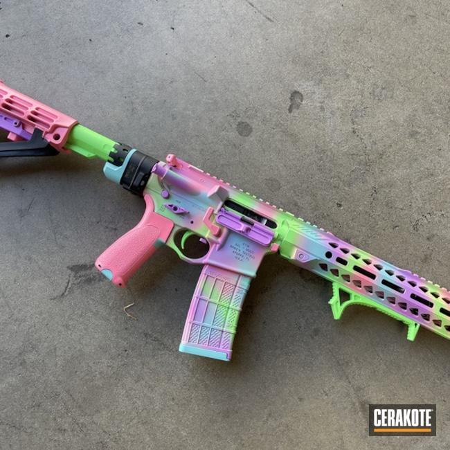 Ar Build Cerakoted Using Pink Sherbet, Parakeet Green And Purplexed