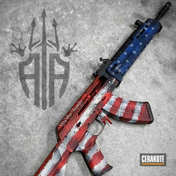 Distressed American Flag Themed Ak-47 Cerakoted Using Snow White, Usmc Red And Nra Blue