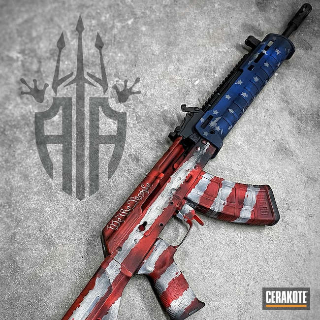 Cerakoted: S.H.O.T,NRA Blue H-171,Snow White H-136,Graphite Black H-146,USMC Red H-167,AK-47