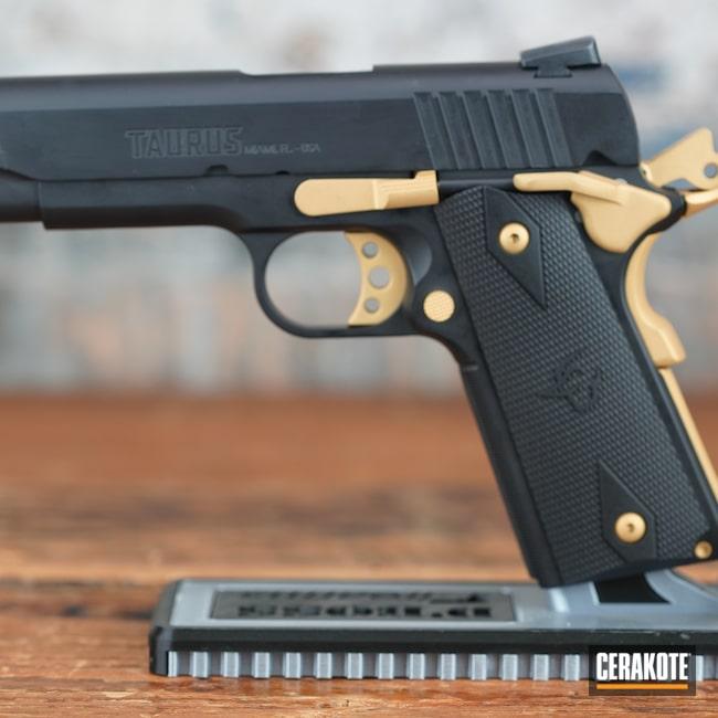 Cerakoted: S.H.O.T,Firearm,Armor Black H-190,Pistol,1911,Taurus,Gold H-122