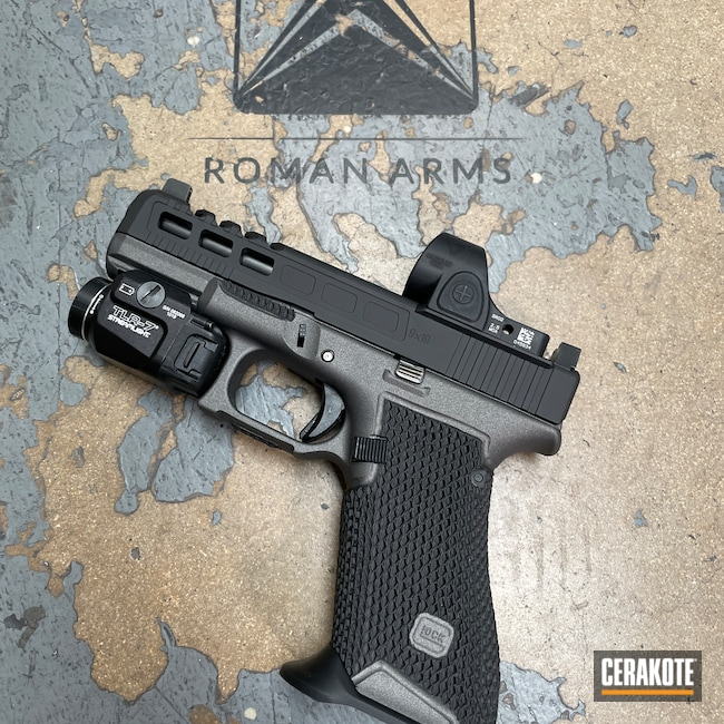 Cerakoted: S.H.O.T,Glock 45,9x19,Tungsten H-237,Stippled,Pistol,Hand Stippled,Handgun,9mm,Gucci Glock,Custom,Red Dot,Graphite Black H-146,Glock,Trijicon,Machined Slide,Handguns,Streamlight,Race Gun