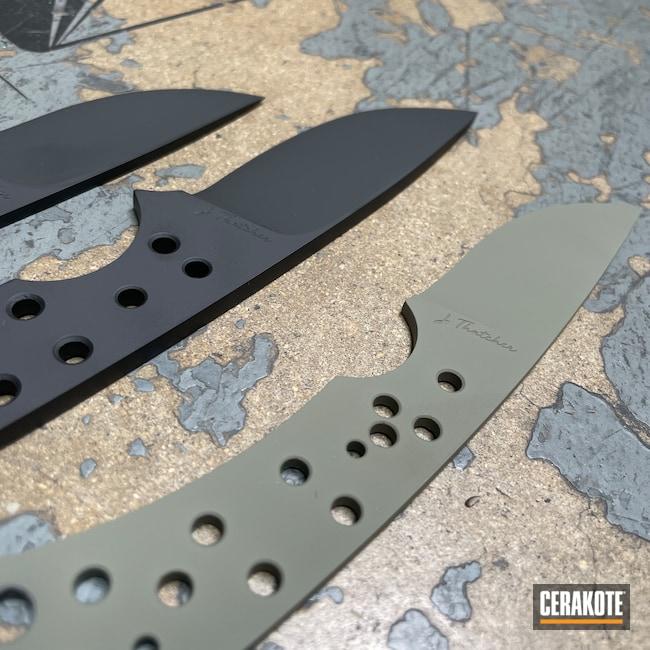 Cerakoted: TEQUILA SUNRISE H-309,S.H.O.T,HAZEL GREEN H-204,Fixed-Blade Knife,Graphite Black H-146,NORTHERN LIGHTS H-315,Knife,Knives,Custom Knives,Blue Titanium H-185,POLAR BLUE H-326