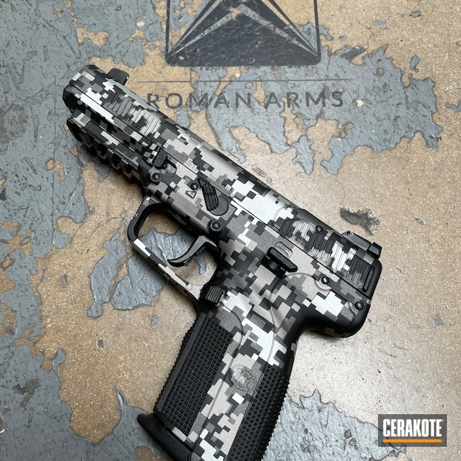 Cerakoted: S.H.O.T,Digicam,5.7x28,Tungsten H-237,FN Five-Seven,Pistol,Stencil,FN,Handgun,Five-seveN,Custom,Digital Camo,Graphite Black H-146,Camo,Satin Aluminum H-151,Titanium H-170,Handguns,FN Herstal,FN 5.7
