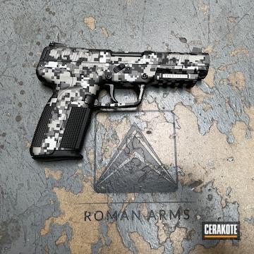 Digicam Fn Herstal Pistol Cerakoted Using Satin Aluminum, Titanium And Graphite Black