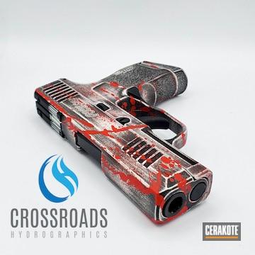 Blood Splatter Sig Sauer P365 Pistol Cerakoted Using Stormtrooper White, Usmc Red And Graphite Black