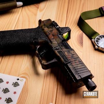 Custom Camo Triarc Systems Oz9 Pistol Cerakoted Using Armor Black, Multicam® Dark Brown And Sniper Green