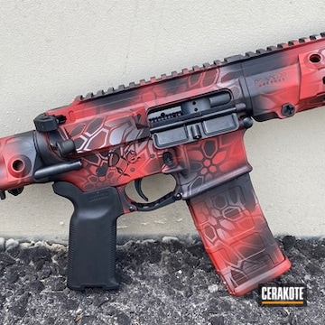 Kryptek Camo Ar Cerakoted Using Crimson, Armor Black And Satin Mag