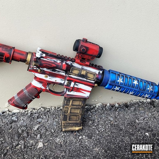 Cerakoted: S.H.O.T,NRA Blue H-171,FIREHOUSE RED H-216,Distressed,Stormtrooper White H-297,Distressed American Flag,America,Armor Black H-190,American Flag,Merica,M&P15,Gold H-122
