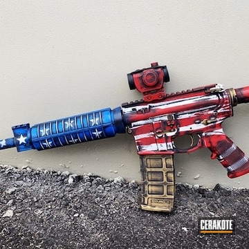 Distressed American Themed Ar Cerakoted Using Armor Black, Stormtrooper White And Nra Blue