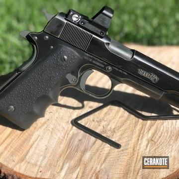 Distressed Remington 1911 Pistol Cerakoted Using Sniper Green